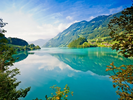 Beautiful Lake - image, high definition, clouds, beautiful day, foliage, nice, mounts, landscapes, beauty, morning, reflection, rivers, alps, sky, trees, lagoons, panorama, water, cool, mountains, awesome, fullscreen, white, scenic, hd, beautiful, laguna, picture, europe, leaves, waterscapes, green, mirror, scenery, blue, amazing, lakes, view, leaf, day, nature, reflected, scene