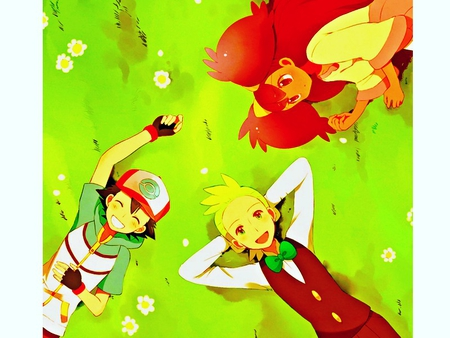 Ash, Iris, and Cilan - cilan, ash, black, pokemon, white, iris