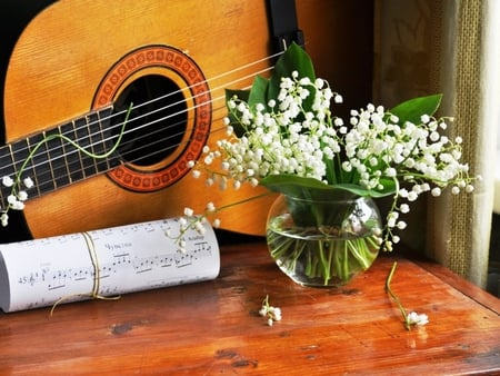 Song of Spring - flowers, song, bouquet, lily of the valley, guitar, spring, nature