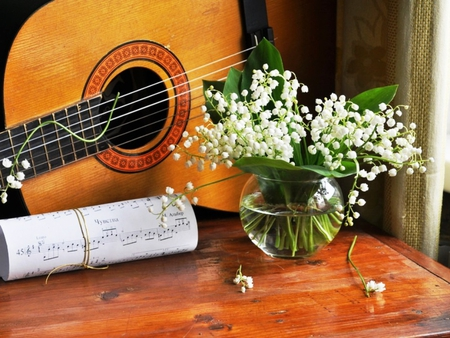 Song of Spring - song, bouquet, flowers, spring, guitar, nature, lily of the valley