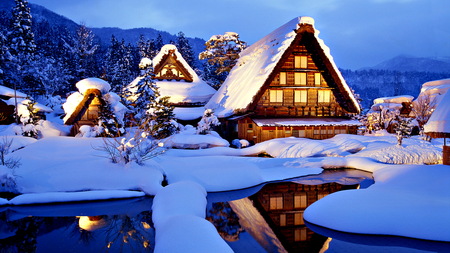 Winter Time - peaceful, light, white, winter time, winter, lights, sky, water, cabin, reflection, clouds, house, snowy, lake, tree, evening, pond, landscape, sunny, sunset, blue, splendor, mountains, trees, nature, architecture, beauty, beautiful, lovely, houses, winter splendor, snow, cottage, view