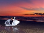 Cape Cod couple dip in sunset