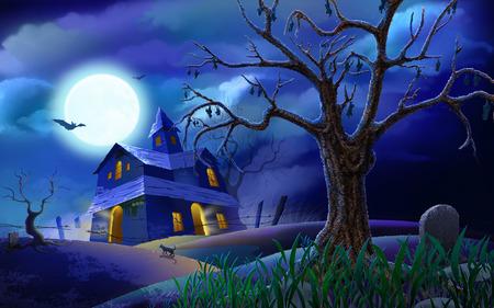house - halloween, sky, tree, clouds, moon, house, full moon, bats, cemetary, night, art