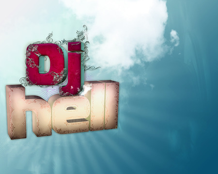3d lettering Dj Hell - 3d alphabets, dj hell, abstract background, in red