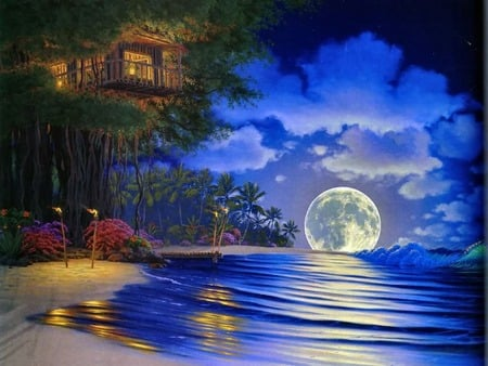 Moonlight Magic - house, magic, clouds, bushes, palm trees, beach, moon, flowers, evening, light, night, torches, ocean, pier, tree house, sky, trees, tree, water, island