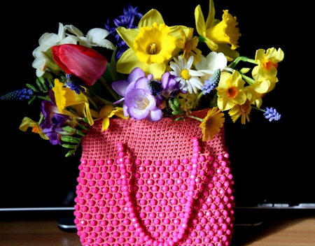 Bag of spring - red, colorful, bag, colors, yellow, spring, beautiful day, purple, bright, flowers, beauty, tulips, pink
