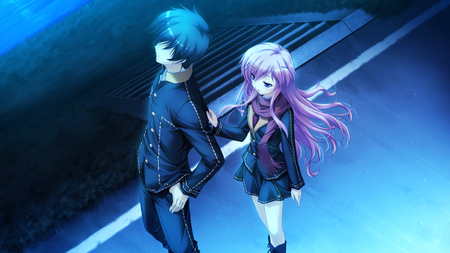 don't leave me - shinigami no testament, game cg, love, mukougaoka kana, long hair, pink hair