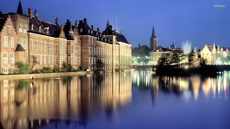 the dutch parliament - fountain, buildings, night, light