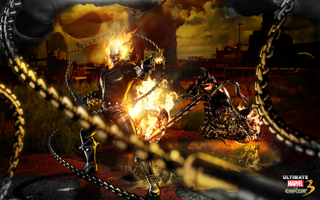 Ghost Rider - ghost rider, marvel, games, marvel vs capcom, chains, motorbike, capcom, motorcycle, weapons, fire, johnny blaze, cool, flames, vide games, skull