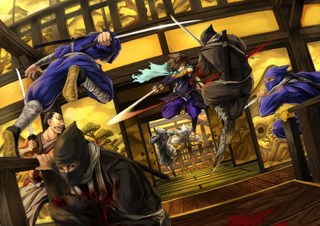 Kisuke on the attack - shinobi, oboro muramasa, males, games, swords, fighting, kisuke, action, ninjas, video games, blood, weapons, battle, katana, fight, scarf