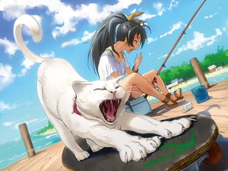 Hibiki - hibiki, cute, the idolmaster, cat, idol, animal, black hair
