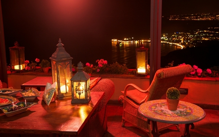Beautiful View at Night - table, lovely, lantern, sicilia, view, beautiful, lights, candles, city, summer, flowers, peaceful, chair, relaxing, italy, night