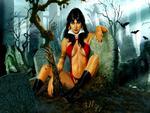 Vampirella In A Graveyard