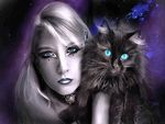 Blue eyed Woman with blue eyed Cat