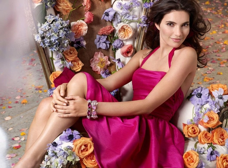 Happy girl - dress, orange, lavender, beautiful, women, fuchsia, young, people, female, satin, smile, roses, happy, brunette, girl, march 8, soft purple, precious, violet