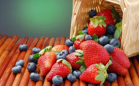 fruit basket - basket, strawberries, nature, blueberries, fruits