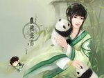 Chinese woman with a panda bear