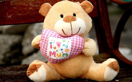 I Love My Mom - bear, smile, love, heart