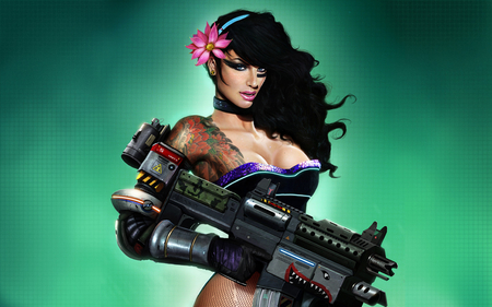 guns and beauty - tattoos, female, model, fishnets, last man standing, cartoon, sexy, brunette, drawing, flower
