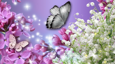 Lilac Fever - pink, dazzle, lavender, spring, purple, lily of the valley, stars, lilac, sparkle, butterfly