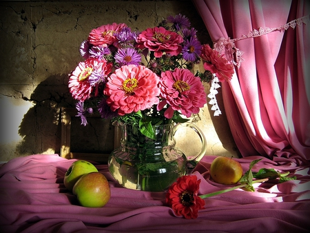 Bold and beautiful - table, bold, apples, curtains, fruits, vase, beautiful, silk, water, purple, flowers, nature, pink
