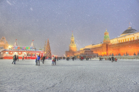 x-mas in red square hdr - red square, russia, hdr, x-mas, winter