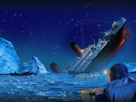 Swallowed - wreackage, boat, sinking, survivor, iceberg, disaster, titanic, ship, night