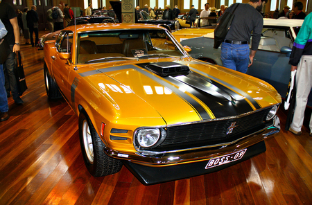 1970 Ford Mustang Boss 302 - cars, stripes, boss, ford, black, 302, yellow, 1970