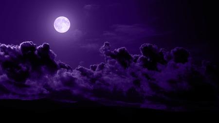 Purple Moonlight - image, clouds, cenario, nice, skyscape, scenario, wallpaper