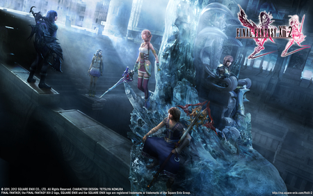 Final Fantasy XIII-2 - twin swords, strong, ponytail, video game, final, noel kreiss, hope, valhala, cute, noel, etro, final fantast xiii-2, fight, lightning, temple, sisters, yuel, together, farron, ballad, throne, purple hair, mog, caius ballad, flower, claire, creature, future, war, moogle, chaos, caius, feathers, long hair, serah farron, goddess, heart, kreiss, pink hair, fantasy, ice