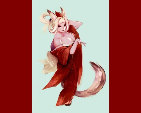 Kongiku - red background, cute, kimono, tail, female, cleavage, oboro muramasa, kongiku, long hair, lone, white hair, foxgirl, games, video games, girl, red eyes, anime girl