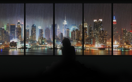 manhattan in the rain thru a window - window, shadow, rain, manhattan, night