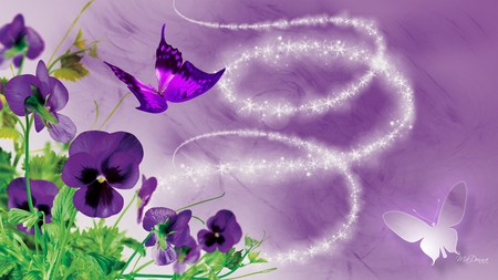 Purple Prize Pansies - shine, butterflies, pansy, dazzle, purple, angel dust, pansies, flowers, sparkle stars