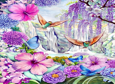 Hidden Valley - colorful, fantasy, mountains, birds, flowers, butterflies, hidden, valley