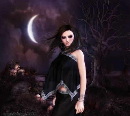 come with me - half moon, skulls, tree, fantasy, girl, gothic, dark