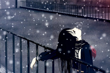 Sadness... - animated, beautiful, peace, cartoon, cute, girl, snow, anime, sad, frustration, relaxation