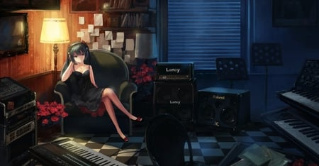 Hatsune Miku - cg, light, white, high heels, thighhighs, anime, amazing, cute, dress, small breasts, diva, orange, guitar, vocaloids, awesome, idol, lamp, digital, music, stunning, vocaloid, chair, sitting, cool, girl, art, window, black, piano, hatsune miku, virtual, electric piano, song, aqua hair, singer, checkerd, cleavage, program, blue, nice, beauty, beautiful, aqua eyes, thigh highs, room, hatsune, bass, artistic, pretty, anime girl