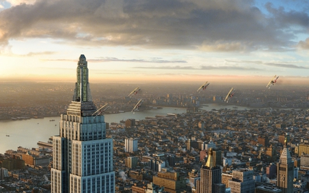 king kong on the empire state building - manhattan, planes, king kong, empire bilding