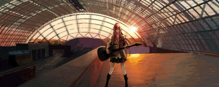Sunset's song - vocaloid, skirt, sunset, music instrumental, instrumental, megurine luka, guitar, girl, anime, anime girl