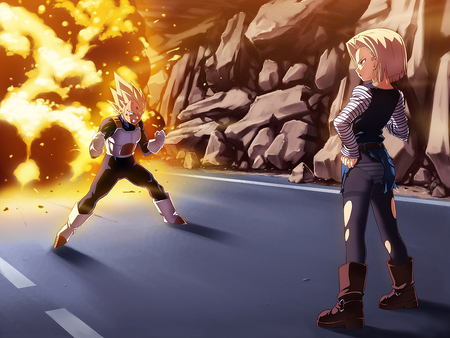 Vegeta VS Android 18 - dbz, super saiyan, boots, dragonball kai, spiky hair, anime, blue eyes, dragonballz, saiyan, explosion, blonde hair, vegeta, dragonballz kai, android, android 18, fire, battle, fight, rubble, torn clothing