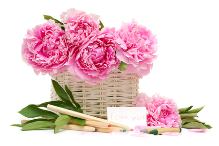 Words in flowers ♥ - colored, floral design, fashion, declaration, entertainment, soft pink, sweet, peonies, crayons, i love you, love, sunny, sweetness, sunshine, together, bright, lovely, basket, forever