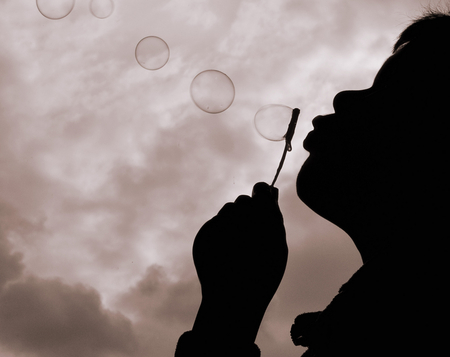 BUBBLES - photography, blow, bw, bubbles, child, fun, silhouette
