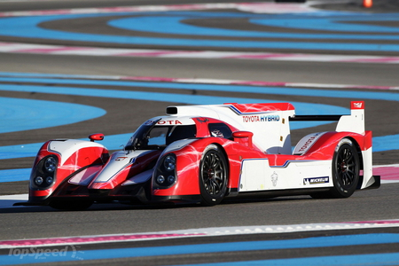 toyota hybrid race car - mid engine, white, race track, single seater, race car, red, black alloys
