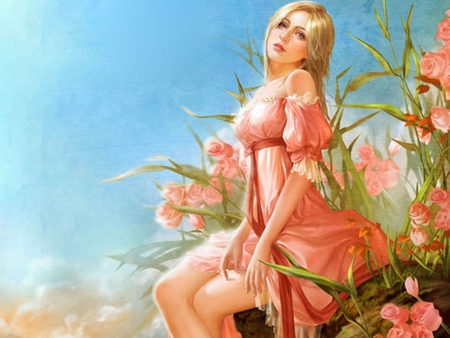 fantasy girl in pink - fantasy, lovely, girl, painting, flowers, nature, roses, pink